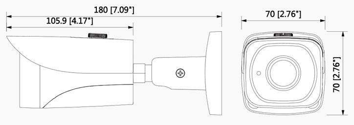 شمای فنی دوربین بالت داهوا HFW 2220EP