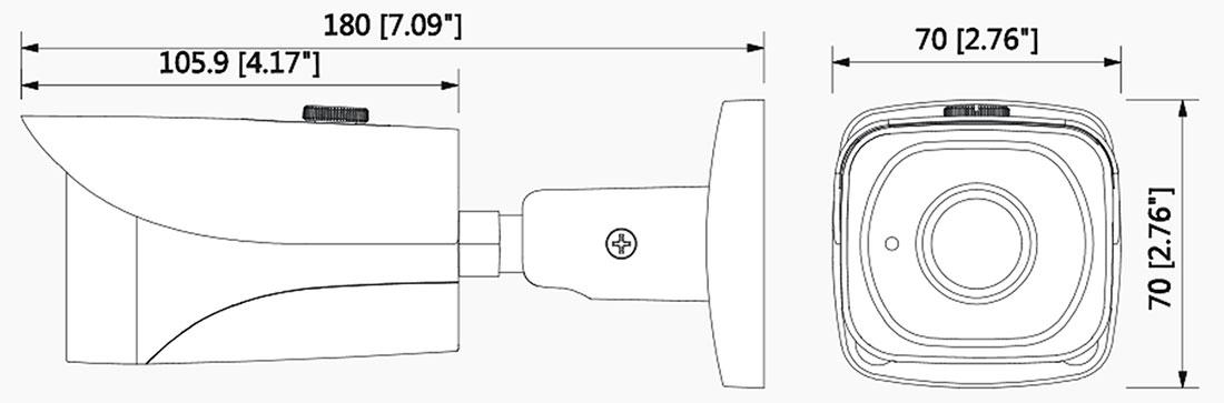 شمای فنی دوربین بالت داهوا HFW 2401 EP